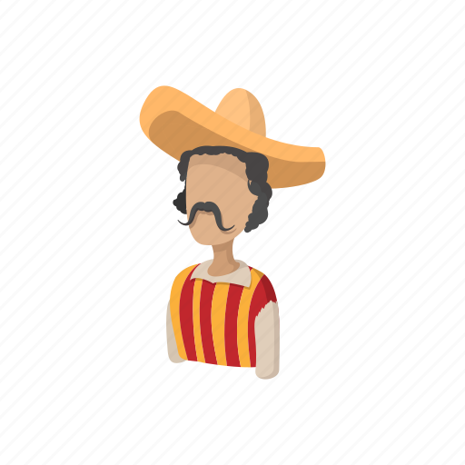 cartoon, hat, latino, man, mexican, mexico, sombrero icon