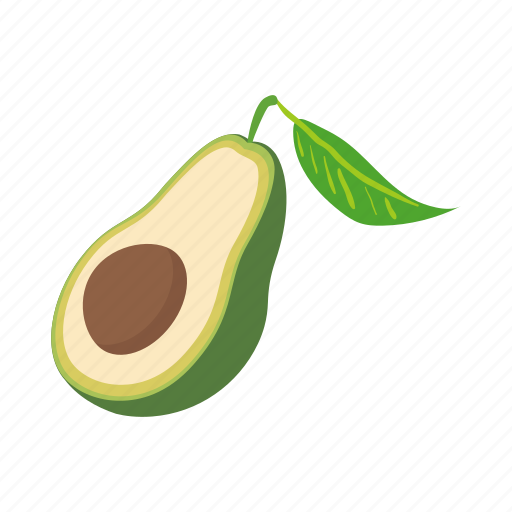 avocado, cartoon, food, fruit, green, seed, vegetable icon