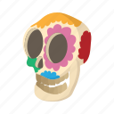 cartoon, celebration, floral, flower, holiday, mexican, skull icon