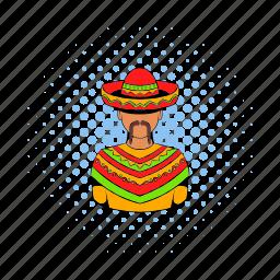 comics, hat, man, mexican, mexico, mustache, sombrero icon