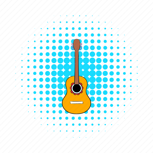 acoustic, comics, guitar, instrument, mexican, music, sound icon