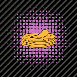 comics, corn, food, stack, taco, tortilla, wrap icon