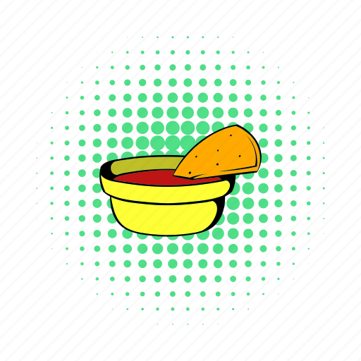 bowl, comics, food, mexican, nacho, sauce, spice icon