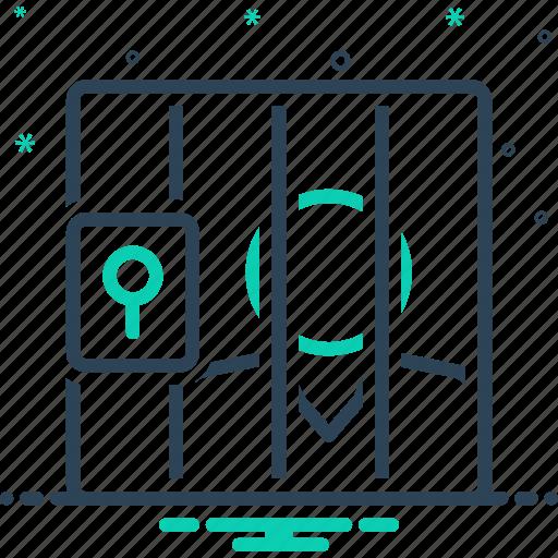 Defendant, gel, imprisonment, lockup, penitentiary, prison, respondent icon - Download on Iconfinder