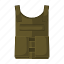 armament, army, bulletproof, flak jacket, military, outfit, uniform icon