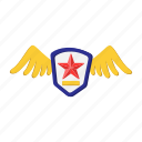arms, cartoon, fly, heraldic, medal, military, star icon