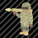 bazooka, cartoon, military, soldier, uniform, war, weaponry icon
