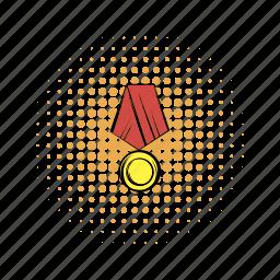 award, comics, gold, honor, medal, ribbon, war icon