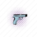 comics, danger, gun, handgun, pistol, war, weapon icon