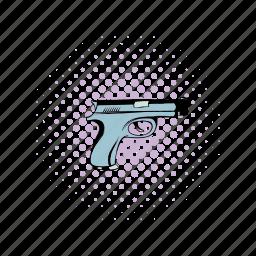 comics, danger, gun, handgun, pistol, war, weapon icon