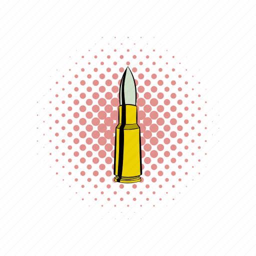 ammo, ammunition, bullet, caliber, comics, gun, metal icon