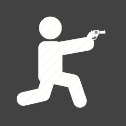 bullet, crime, gun, hunting, police, shooting, sitting icon