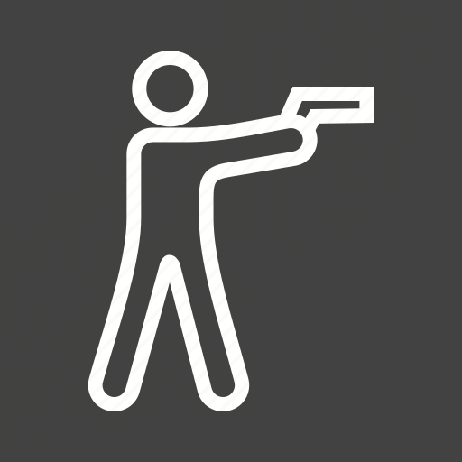 gun, hunting, police, rifle, shooting, standing, weapon icon