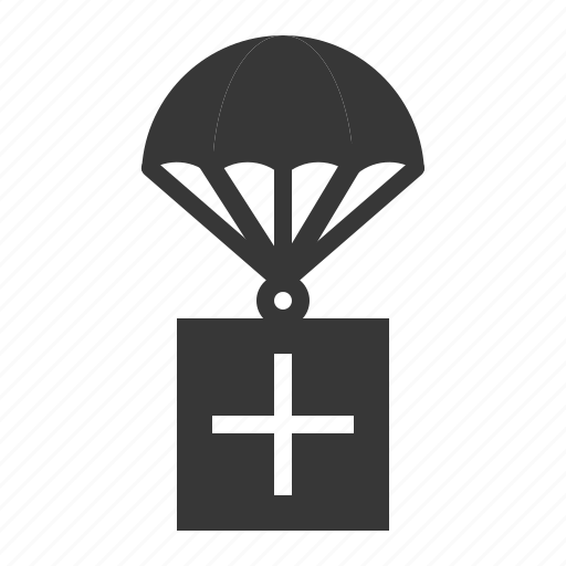 airdrop, army, delivery, equipment, military, parachute, supply icon