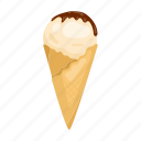 cone, cooking, dairy product, dessert, ice cream, milk, waffle icon