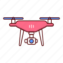 aerial, aircraft, copter, drone, fly, hover, millennial icon