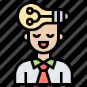 business, creative, idea, man, thinking icon