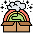 creative, outside, box, rainbow, think icon