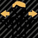 arrows, doubt, hesitate, uncertainty, unsure icon
