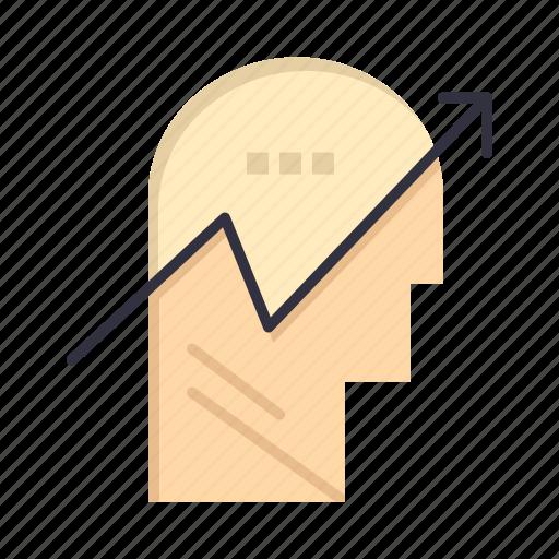 arrow, chart, human, knowledge, mind icon