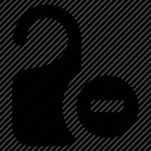 door knob, keys, knob, minus sign icon