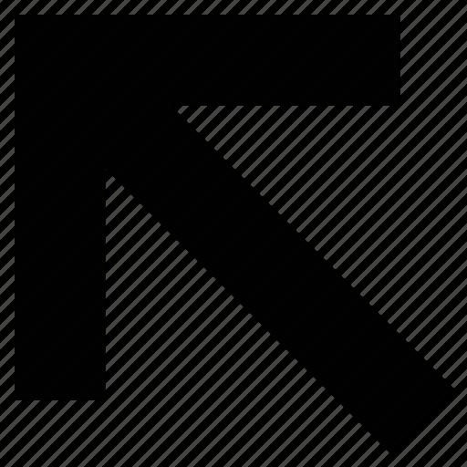 directional, left, left arrow, navigation arrow, point, upward arrow icon