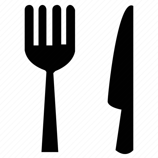 cutlery, dining, eating, food, fork, fork and knife, knife, utensil icon