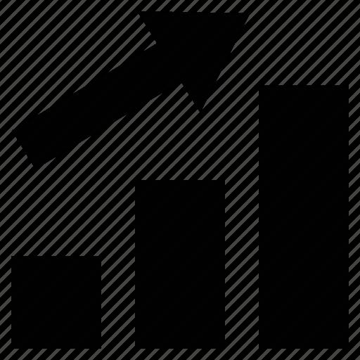 arrow, bar chart, development, graph, growth, progress icon