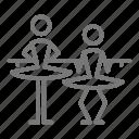 ballerina, ballet, barre, plie, position, practice, studio icon