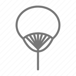 breeze, circulate, cool, fan, handheld, stick, wave icon