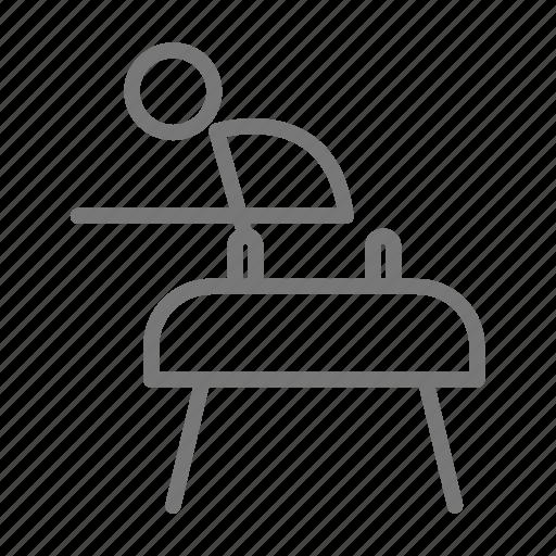 balance, gymnast, gymnastics, handstand, horse, men, pommel icon