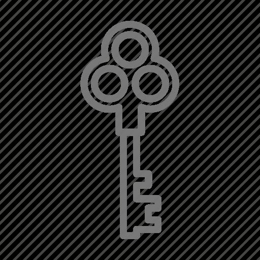 key, lock, skeleton, vintage icon