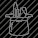hat, magician, rabbit, trick icon