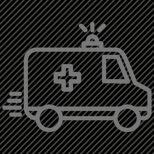 ambulance, emergency, flashing lights, hospital, siren icon