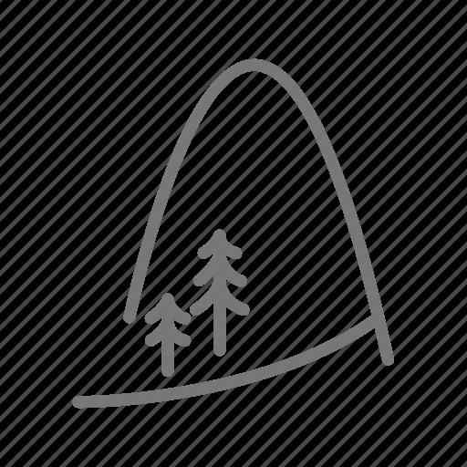 hill, landscape, lanscape, mountain, peak, trail, tree icon