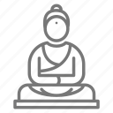 buddha, meditate, relax, statue icon