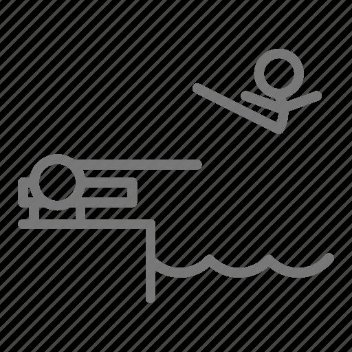 compete, dive, diving board, pike, pool, swim, tuck icon