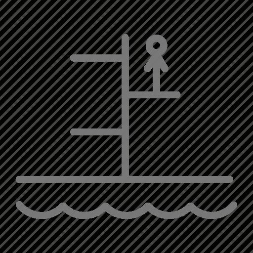 dive, diver, diving board, diving well, platform, pool, swim icon