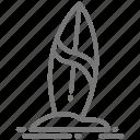 sand, surf, surfboard icon