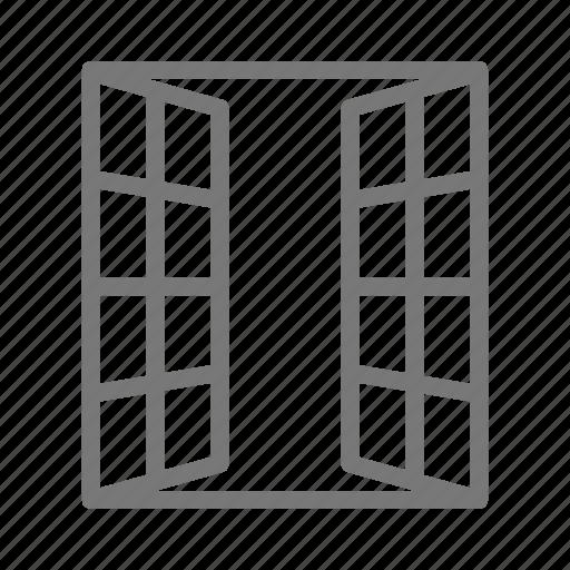 casement, frame, french, glass, window icon
