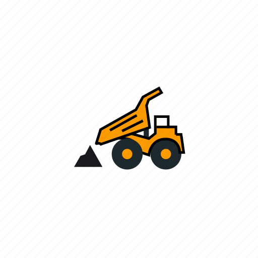 car, discharging, mining, trash, truck, unloading icon