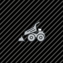 car, discharging, mining, trash, truck, unloading icon