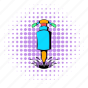 comics, design, halftone, jackhammer, purple, tool, worker icon
