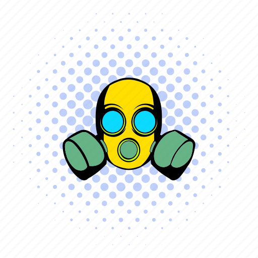 caution, comics, design, halftone, protective, respirator, toxic icon