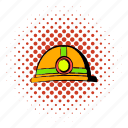 coal, comics, flashlight, halftone, helmet, orange, red icon