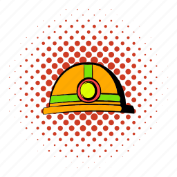 coal, comics, flashlight, halftone, helmet, orange, red icon