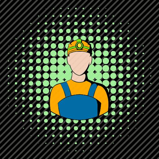 coal, comics, design, halftone, mine, miner, profession icon