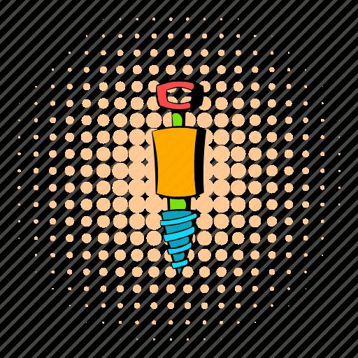 comics, design, halftone, jackhammer, orange, tool, worker icon