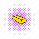 bar, bullion, comics, gold, halftone, mine, purple icon