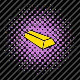 bar, bullion, comics, gold, halftone, mine, purple icon
